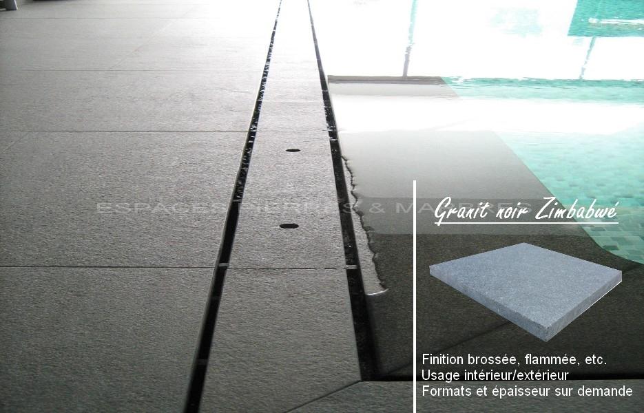 Dallage et margelle ambiance contemporaine espaces - Margelle piscine noire ...